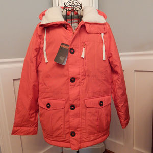 Men's Orange Parka Coat with Sherpa Lined Hood